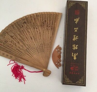 Bamboo Fan in Wooden Box Intricate Design Wedding From China