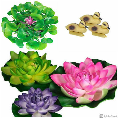 Pond Decor Value Pack, Includes Floating Lilies, Hyacinth & Ducklings