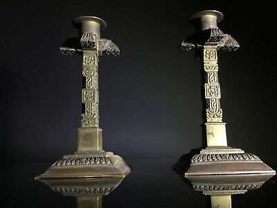 Pair (x2) Antique Heavy Gilt Bronze Ornate Candlesticks / Candle Holders