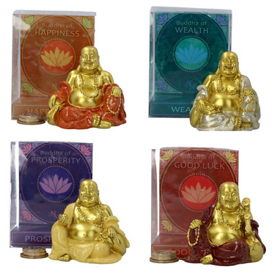 Buddha Money Box Choose from Good Luck, Prosperity, Wealth or Happiness 7.5cm
