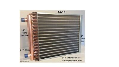 """Water to Air Heat Exchanger 14x10~~1"""" Copper ports w/ EZ Install Front Flange"""
