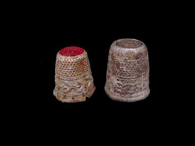 LOT of 2 AMAZING OLD ANTIQUE ALUMINUM THIMBLES FROM 1800s/1900s. GLASS on TOP!!!