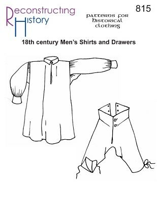 Historical Clothing Clothes Sewing Pattern RH 815 - Men's Shirt & Drawers 1700s