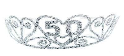 "Birthday ""50"" Silver Spakle Tiara Adult Crown"