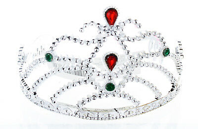 Silver Costume Tiara With Colored Stones Child