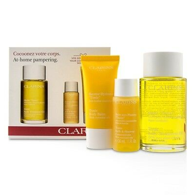 Clarins At-Home Pampering Body Kit: 1x Tonic Body Treatment Oil, 1x Bath & Mens