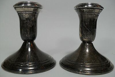 "Lord Silver Inc Sterling Weighted Candle Holders Pair Lot 3⅝"" Tall 925"