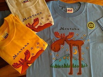WHOLESALE Kids clothes T-Shirt, NEW Large, Montana Moose Tee Shirt, Glow in Dark