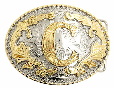 "Initial ""C"" Letter Oval Gold & Silver Rodeo Western Cowboy Metal Belt Buckle"