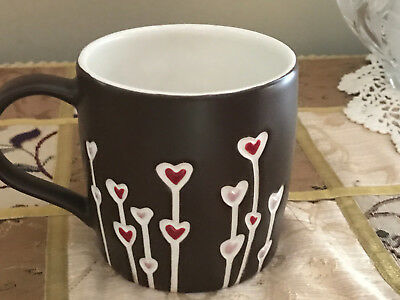Starbucks Coffee Mug Hearts Flowers Hand Painted 2009 Brown Red Pink Ivory EUC