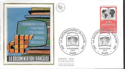 FR431) France 1985 The French Documentation Silk FDC $4.00