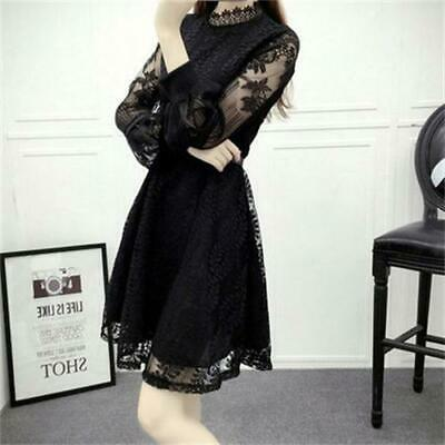 Womens Hollow Puff Long Sleeve Slim Korean Knee Length Black Splice Lace Dress