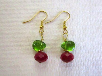 New! Red Faceted Crystal and Green Glass Leaf Gold Tone Berry Fruity Earrings