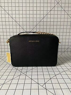 Michael Kors Jet Set Large East West Crossbody Black Saffiano Bag
