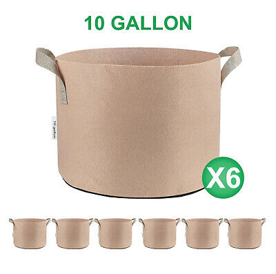 3/6/12/24-Pack 5 7 10 25 30 45 65 Gallon Tan Grow Bags Fabric Nursery Pots