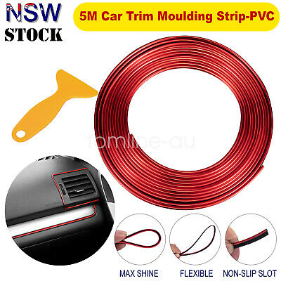 5M Flexible Trim Moulding Strip Decorative Line Car Interior Red