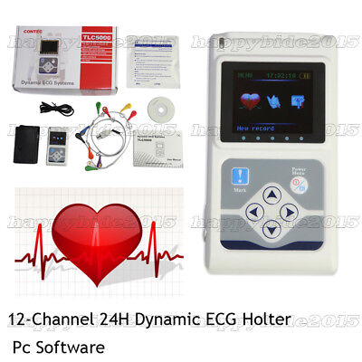 CE 24 Hour 12 Channel ECG/EKG Holter/recorder Monitor/System,PC Software