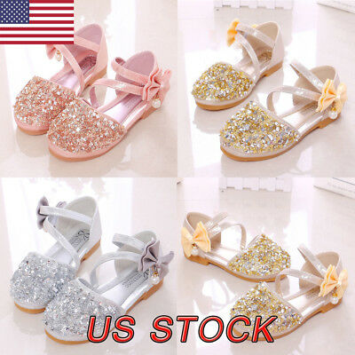 Child Kids Baby Girl Bowknot Party Dress Princess Shoes Shiny Leather Sandals US