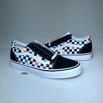Vans Old Skool Checker board Party Multi Color Rainbow Black White Pink  Blue Red be62394b9