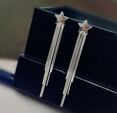 Sterling silver Star Tassel long drop Earring/SE001