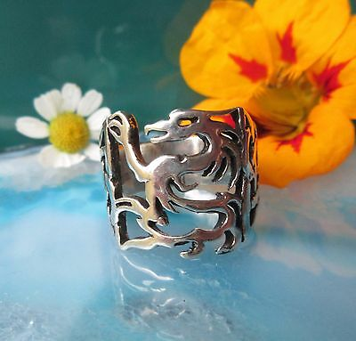 Ring Dragon Sterling Silver 925 Dragon Mythical Creatures Mythology Size 18