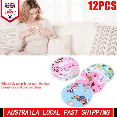12PCS Cute Bamboo Reusable Breast Pads - Washable Nursing Pads for Breastfeeding