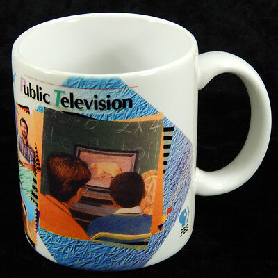 PBS Public Television Colorful Photo Promotional Coffee Cup Big Bird Mr Rogers