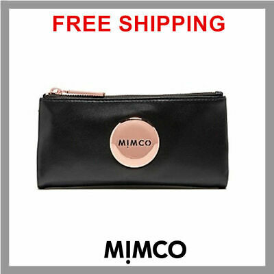 MIMCO Black MIM FOLD WALLET Rose Gold button Sheep Leather genuine BNWT RP179 DF
