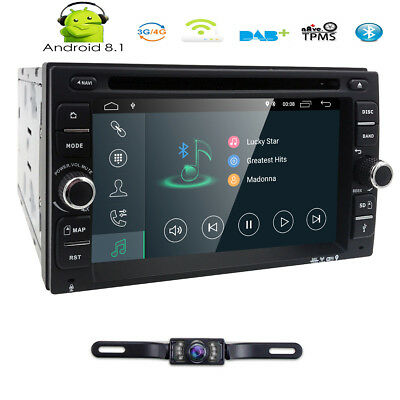 Android 8.1 Double 2Din Car Stereo Radio GPS OBD2 HD Mirror ScreenBT With DVD E