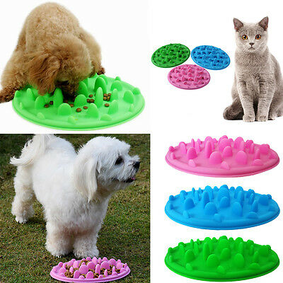 Pet Dog Cat Feed Dish Bowl Puppy Slow Feeder Anti Slip Choke Silicone Bowl AU