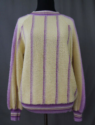80's Aileen Sport Pullover Sweater Large Fuzzy, Terry Cloth, Hipster, Retro