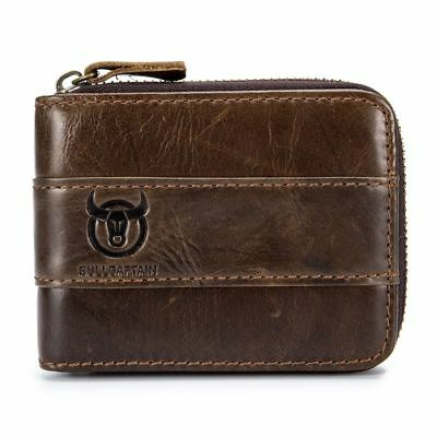 BULLCAPTAIN Genuine Leather Men Wallet RFID Blocking Vintage Bifold Wallets I0H7