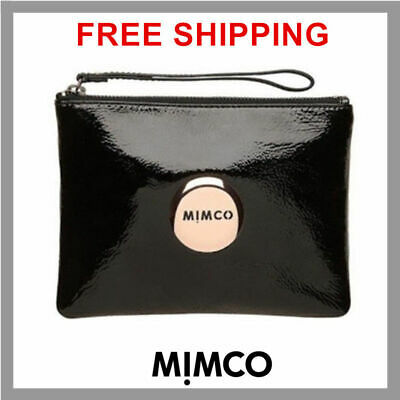 Authentic Mimco Medium MIM POUCH Black Rose Gold Wallet Patent Leather DF