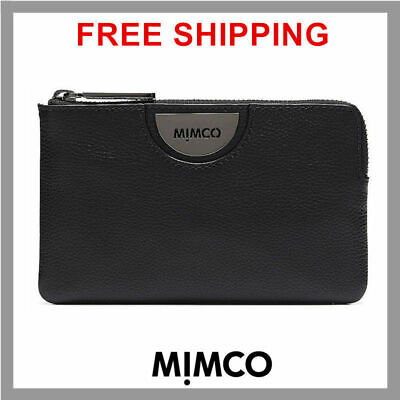 Mimco Echo Black Gunmetal Leather Small Pouch Clutch Wallet Fits iPhone New DF
