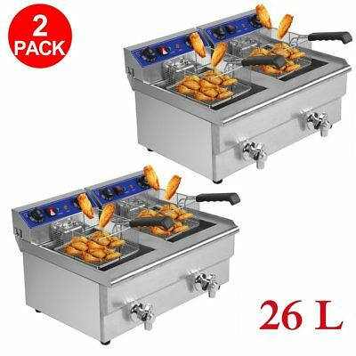 2X 26L Commercial Deep Fryer w/ Timer and Drain Fast Food French Frys Electric Y