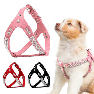 Soft Suede Leather Puppy Dog Harness Rhinestone Pet Cat Vest Small Medium Dogs