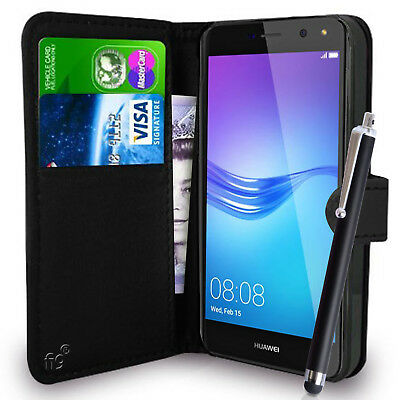 Black Wallet Case PU Leather Book Cover For Huawei Y6 2017 / 2018 / 2019 Mobile