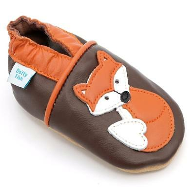 Dotty Fish Soft Leather Baby Shoes. Toddler Boys and Girls. Panda, Fox, Bear...