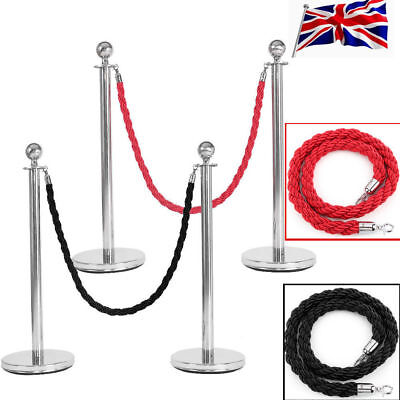 2x Polished Steel Queue Rope Barrier Posts Stands Twisted Rope Stanchion New Set