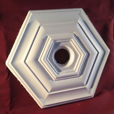 Ceiling Rose Hexagonal Art Deco Syle 380mm Plaster Handmade UK