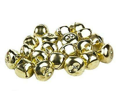 10 LARGE GOLD RINGING JINGLE BELLS CHARMS 25mm XMAS TOP QUALITY