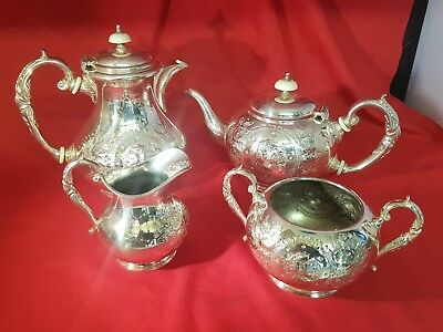 a beautifull antique silver plated tea set with embossed patterns by j. turton.
