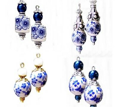 Earrings, Porcelain Blue and White, choose clip on or pierced, gold or silver