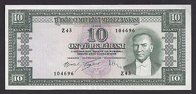 """AU"" L.1930 1953 Turkey 10 Lira P-160a ""Z43 104696"", #206-2"