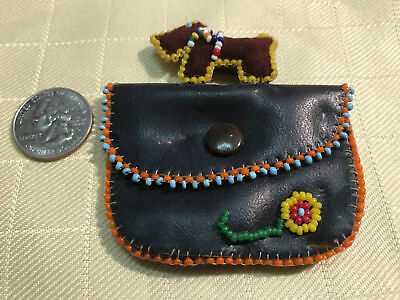 Vintage Native American? Leather Beaded Scottie Change Purse Dog Pin pn804