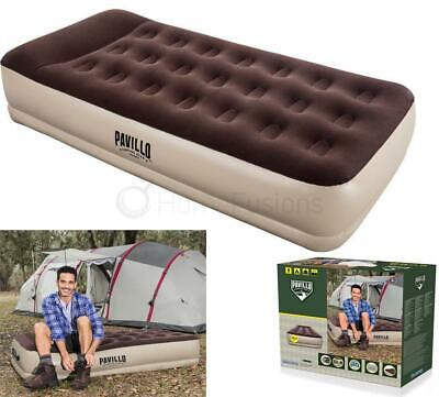 Single Inflatable High Raised Air Bed Mattress W Battery Operated Electric Pump