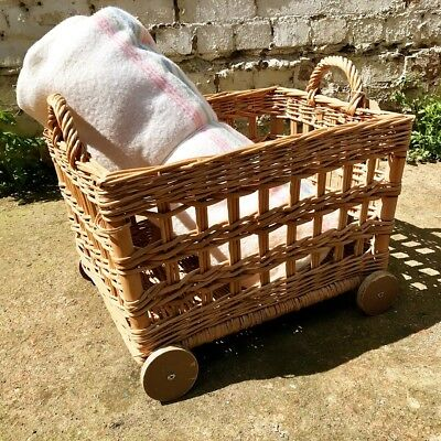 Vintage Woven Wicker Log Basket On Wheels Rustic Country Cottage