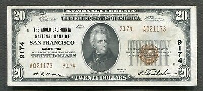 1929 $20 Tyii The Anglo California National Bank Of San Francisco, Ca Ch. #9174