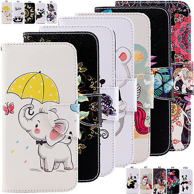 Animal Magnetic Flip Wallet Case Stand Cover For Huawei P Smart Y5 Y6 Y7 Y9 2018