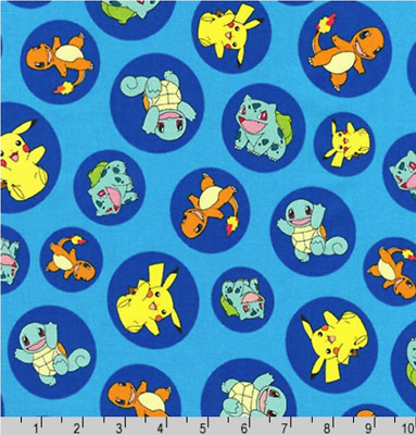 Pokemon Badges Character Toss Blue Robert Kaufman 100% Cotton fabric by the yard